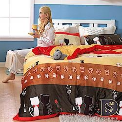 DESMOND岱思夢 單人_法蘭絨床包枕套二件組-不含被套 貓咪