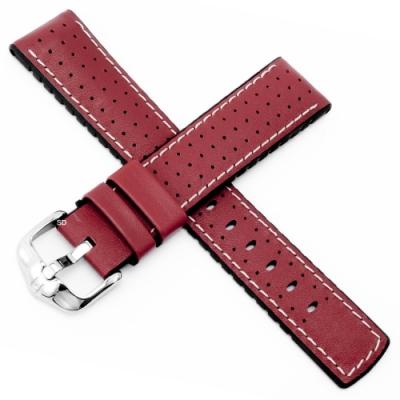 海奕施 HIRSCH Tiger L 橡膠複合小牛皮錶帶-紅