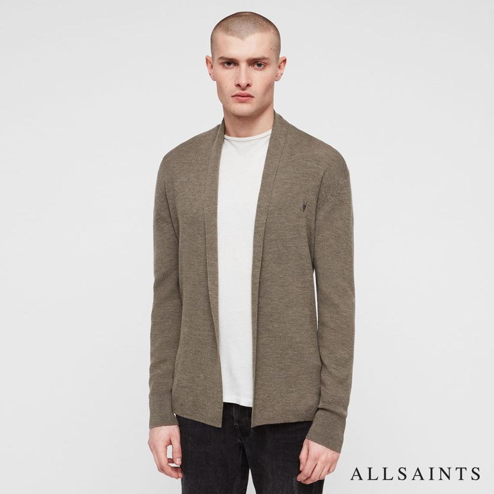 ALLSAINTS MODE MERINO 經典公羊頭骨刺繡美麗諾羊毛針織外套-大地綠