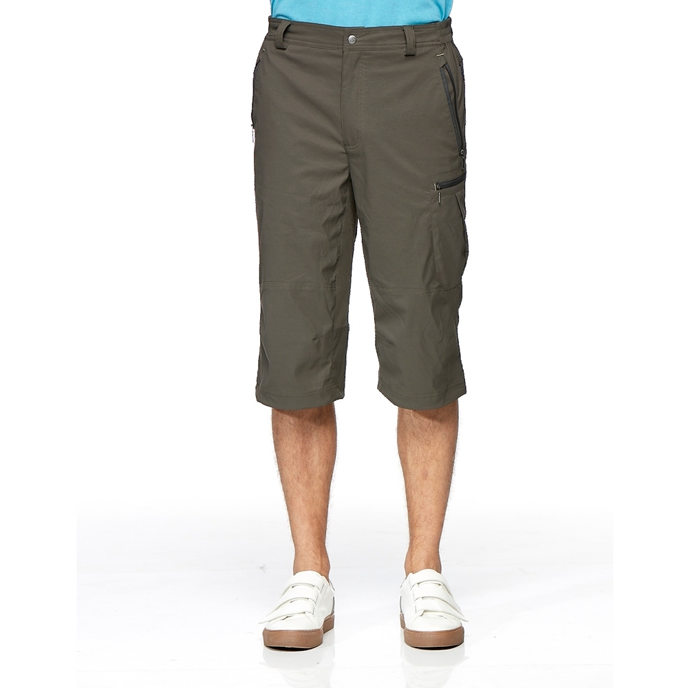 【WILDLAND荒野】男彈性透氣抗UV貼袋七分褲長春藤綠