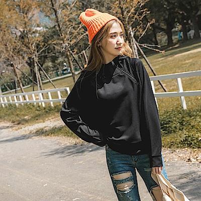 台灣製造~寬版側拉鍊吸濕排汗機能連帽運動上衣-OB大尺碼