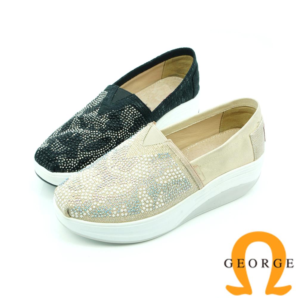 【GEORGE 喬治】舒適系列 V字彈力水鑽休閒鞋-黑色