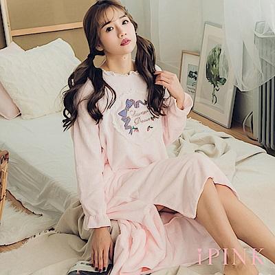 i PINK 美夢宣言 保暖水貂絨洋裝居家服睡衣(粉)