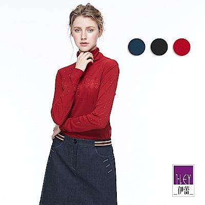ILEY伊蕾 輕奢珠飾翻領上衣魅力價商品(黑/藍/紅)