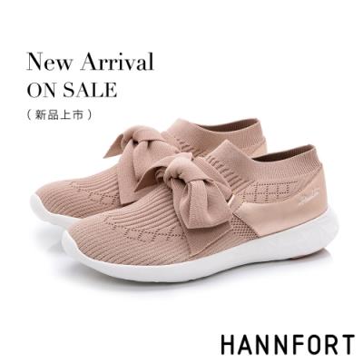 HANNFORT ICE 蝴蝶結針織輕短靴-女-粉