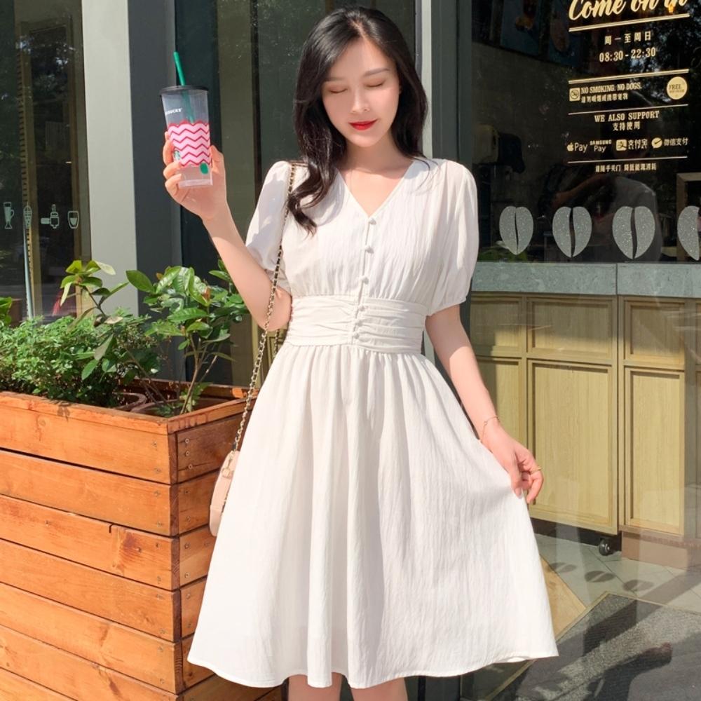 優雅氣質純色泡泡袖V領淑女洋裝S-L(共二色)-Dorri