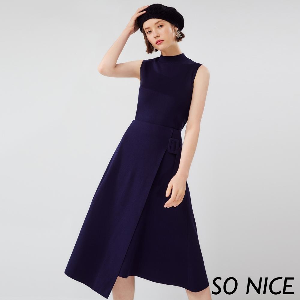 SO NICE都會不規則造型針織長裙