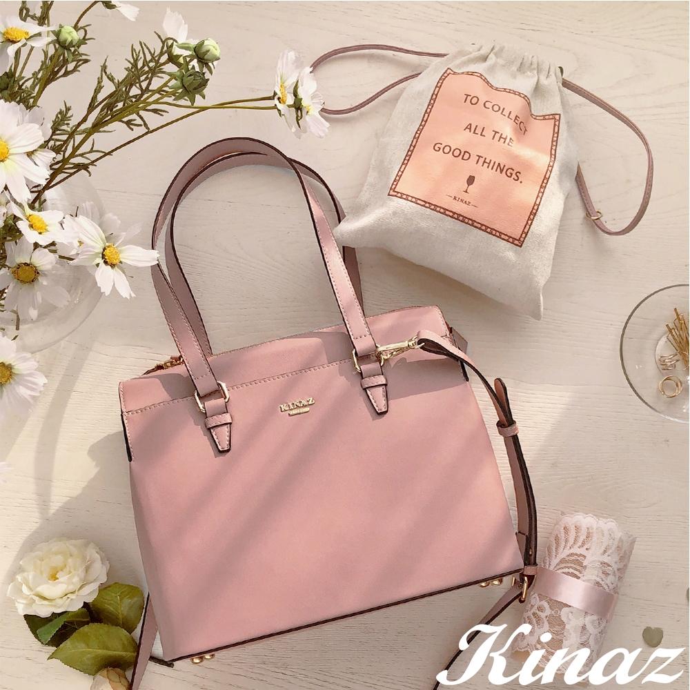 KINAZ 附束口袋多隔層大容量手提斜背托特包-夢幻香氣-粉紅葡萄酒系列