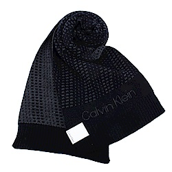 Calvin Klein CK 極線動感個性LOGO針織圍巾-深藍色
