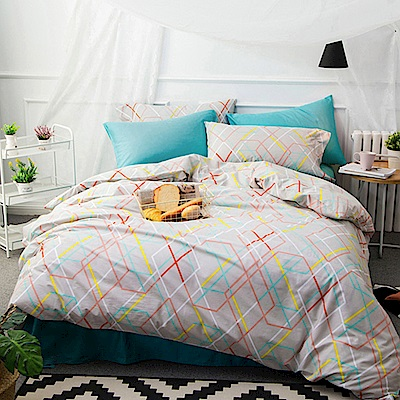 BUNNY LIFE 幾何-雙人-簡約精梳純棉床包被套組