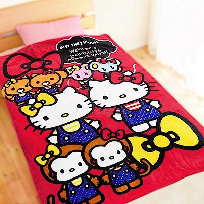 享夢城堡 法蘭絨毯100x150cm-HELLO KITTY 雙胞胎-紅