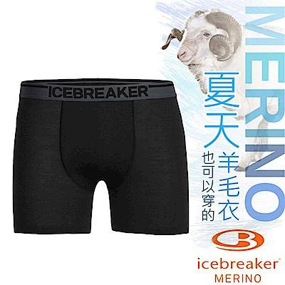 Icebreaker 男款 美麗諾羊毛 Anatomica 高彈性四角內褲_黑