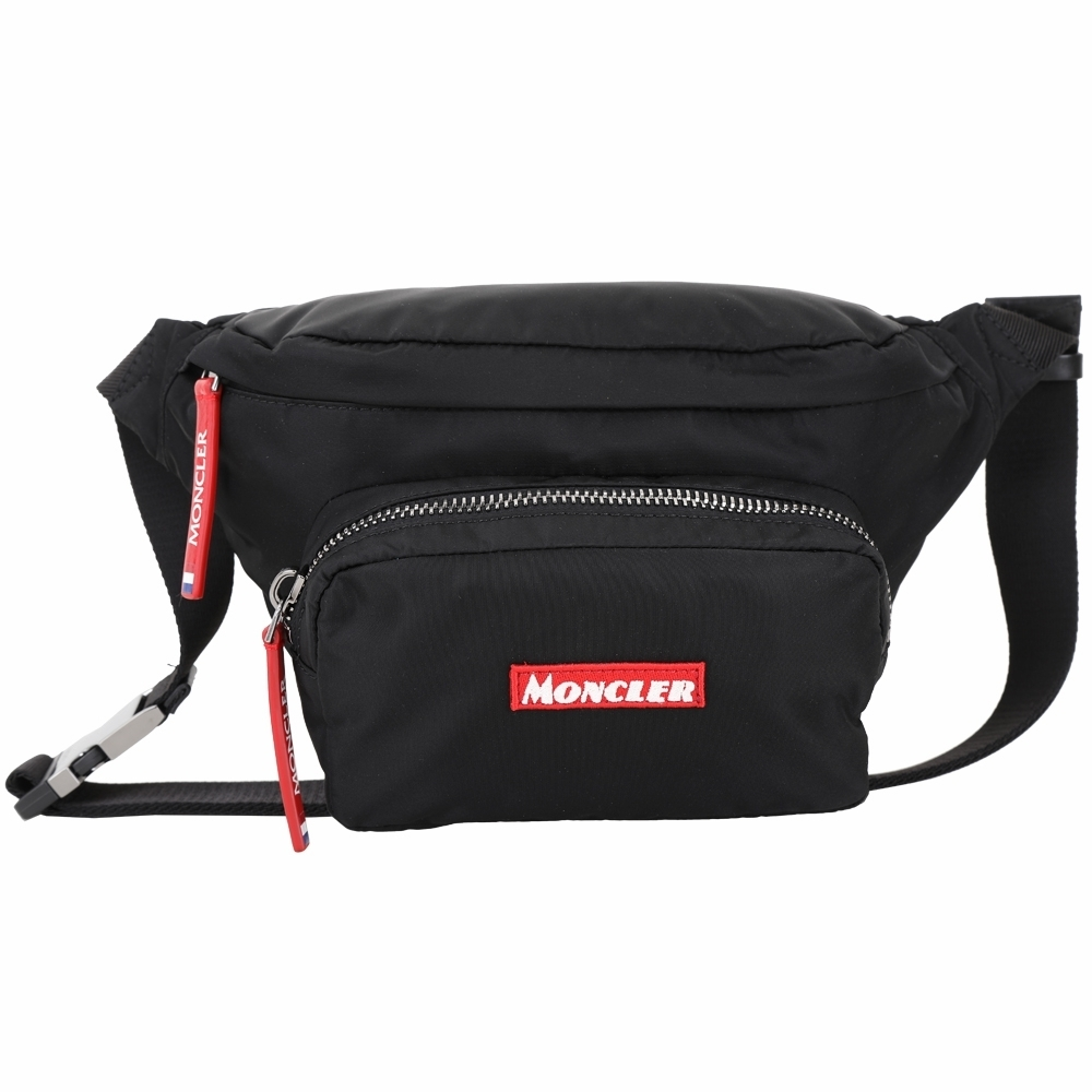 MONCLER DURANCE 品牌標誌尼龍胸肩背/腰包(黑色)