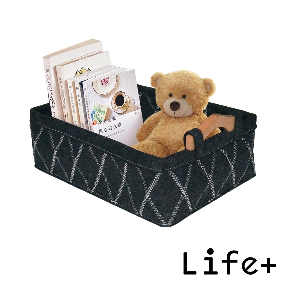 Life Plus 品味格調木柄毛氈收納籃/置物籃 (黑色)