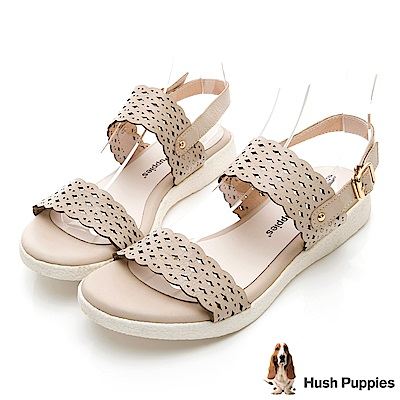 Hush Puppies Heron 柔軟皮質雕花涼鞋-米白
