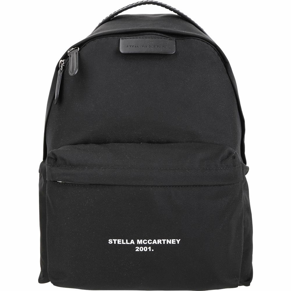 Stella McCartney Falabella 品牌字母尼龍後背包(黑色)