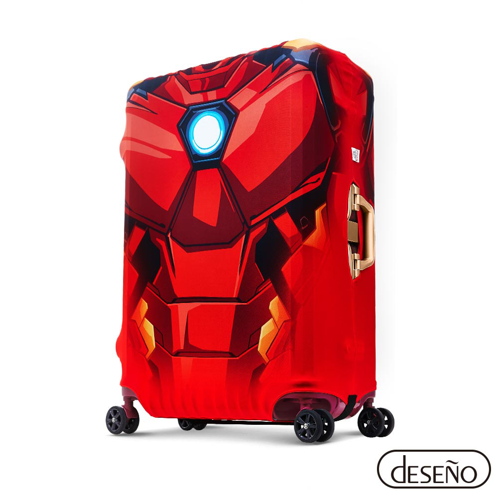 漫威英雄造型防刮彈性布行李箱箱套M(鋼鐵人)