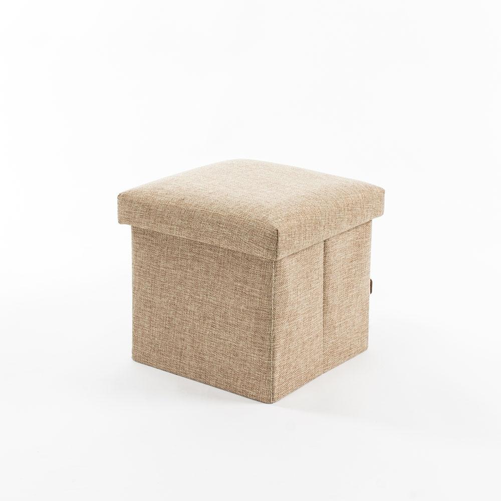 樂嫚妮 棉麻折疊收納椅凳/穿鞋凳-15L-米