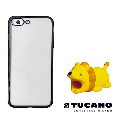 TUCANO iPhone7+/8+超薄硬式保護組合(防撞保護套+動物園Ⅱ咬線器隨機)