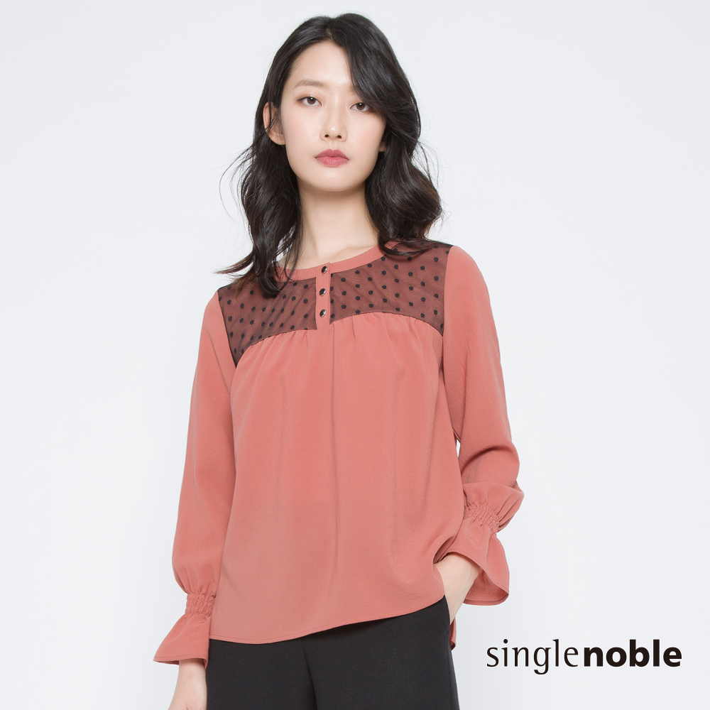 獨身貴族 復刻典雅圓點網紗荷葉袖上衣(2色) @ Y!購物