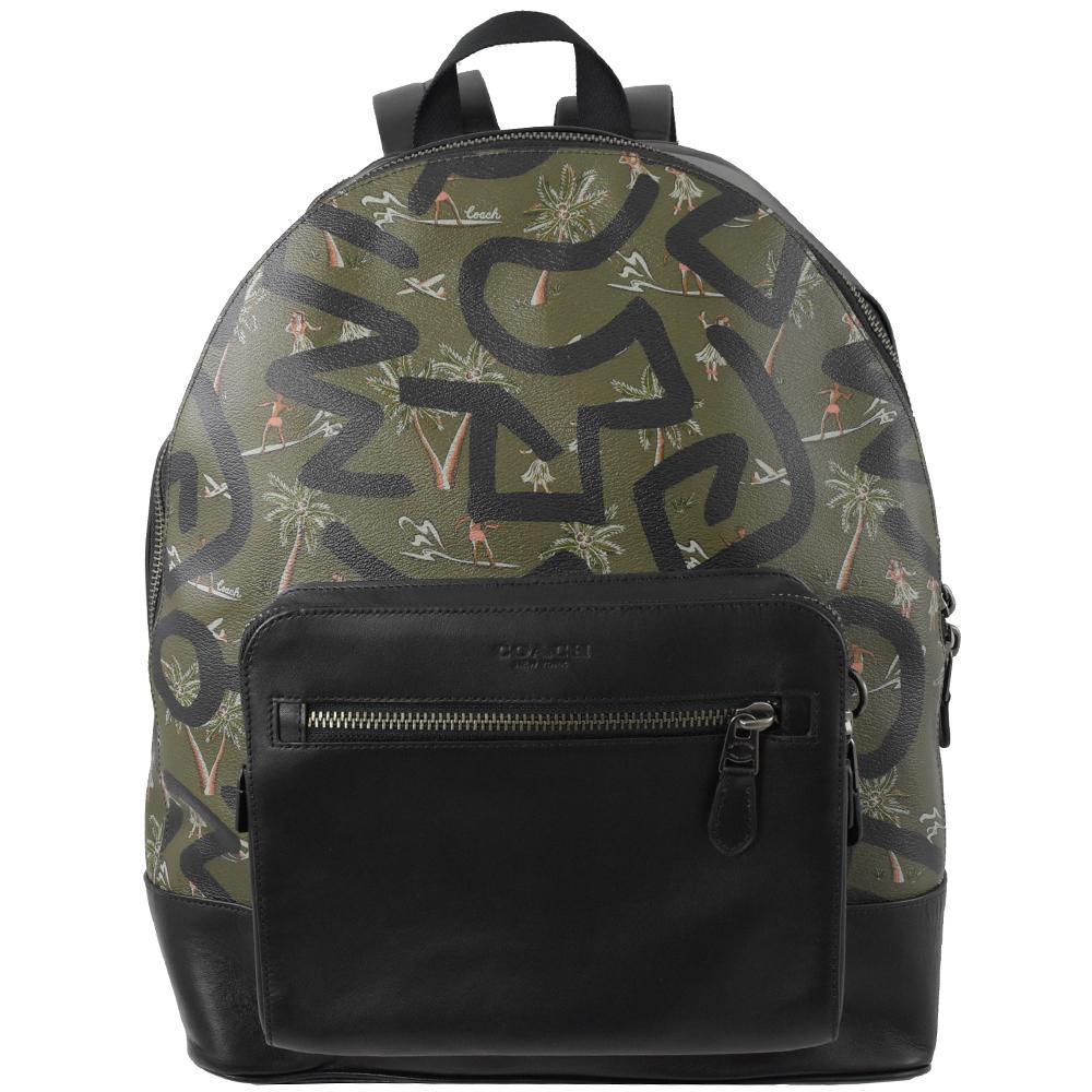 COACH Keith Haring 聯名牛皮+PVC雙層大後背包(黑綠)