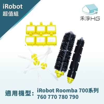 禾淨家用HG iRobot Roomba 760 770 780 790掃地機副廠配件(膠刷 +濾網*4 邊刷*<b>3</b>組)