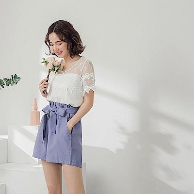 純色雪紡透紗蕾絲拼接短袖上衣-OB大尺碼