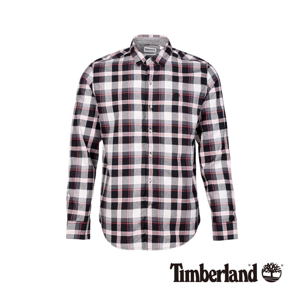 Timberland 男款黑白紅法蘭絨格紋長袖襯衫|A1NMF