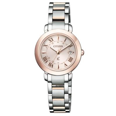 CITIZEN XC優雅迷人電波光動能鈦金屬腕錶ES9445-57W