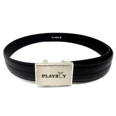 PLAYBOY- LOGO字體雕刻LOGO 自動皮帶-黑色