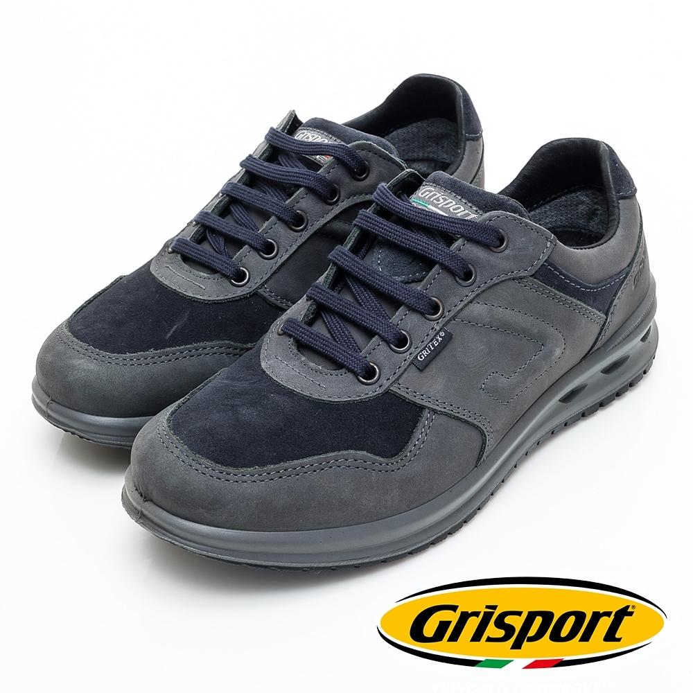 Grisport 義大利進口-拼接綁帶真皮休閒鞋-灰色
