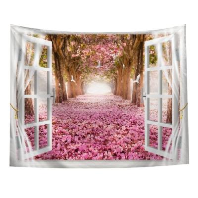 半島良品 北歐風裝飾掛布-窗景系列/窗景-櫻花 150x130cm