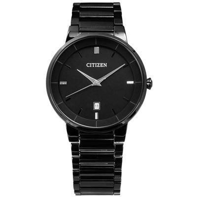 CITIZEN 礦石強化玻璃日期視窗手錶(BI5017-50E)-鍍黑/40mm