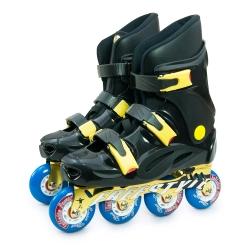 DLD多輪多 鋁合金底座 專業競速直排輪 溜冰鞋 黑黑 FS-1 附贈太空背包