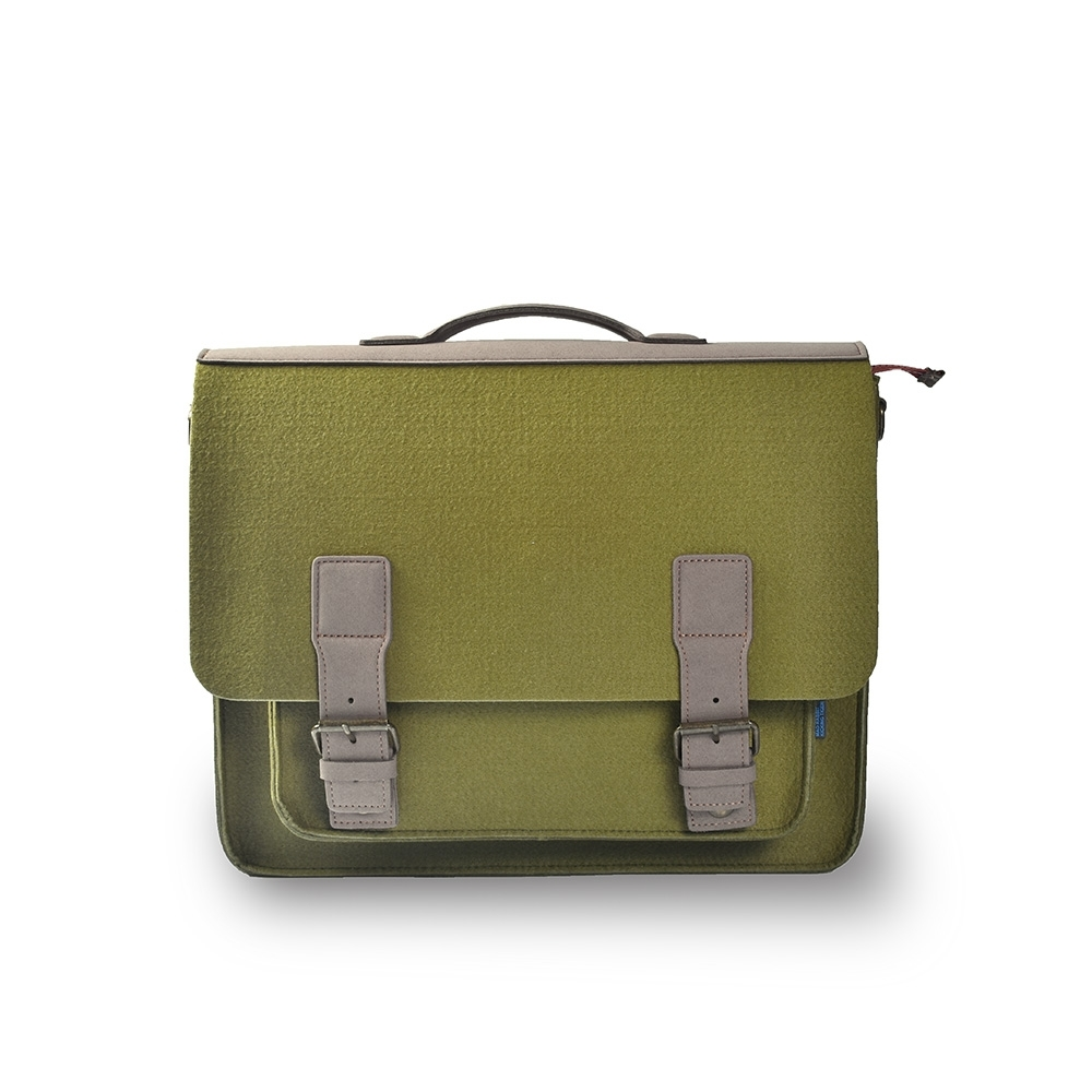 M.R.K.T. 素皮革工業風設計款牛津公事包-198143C GREEN(綠色)