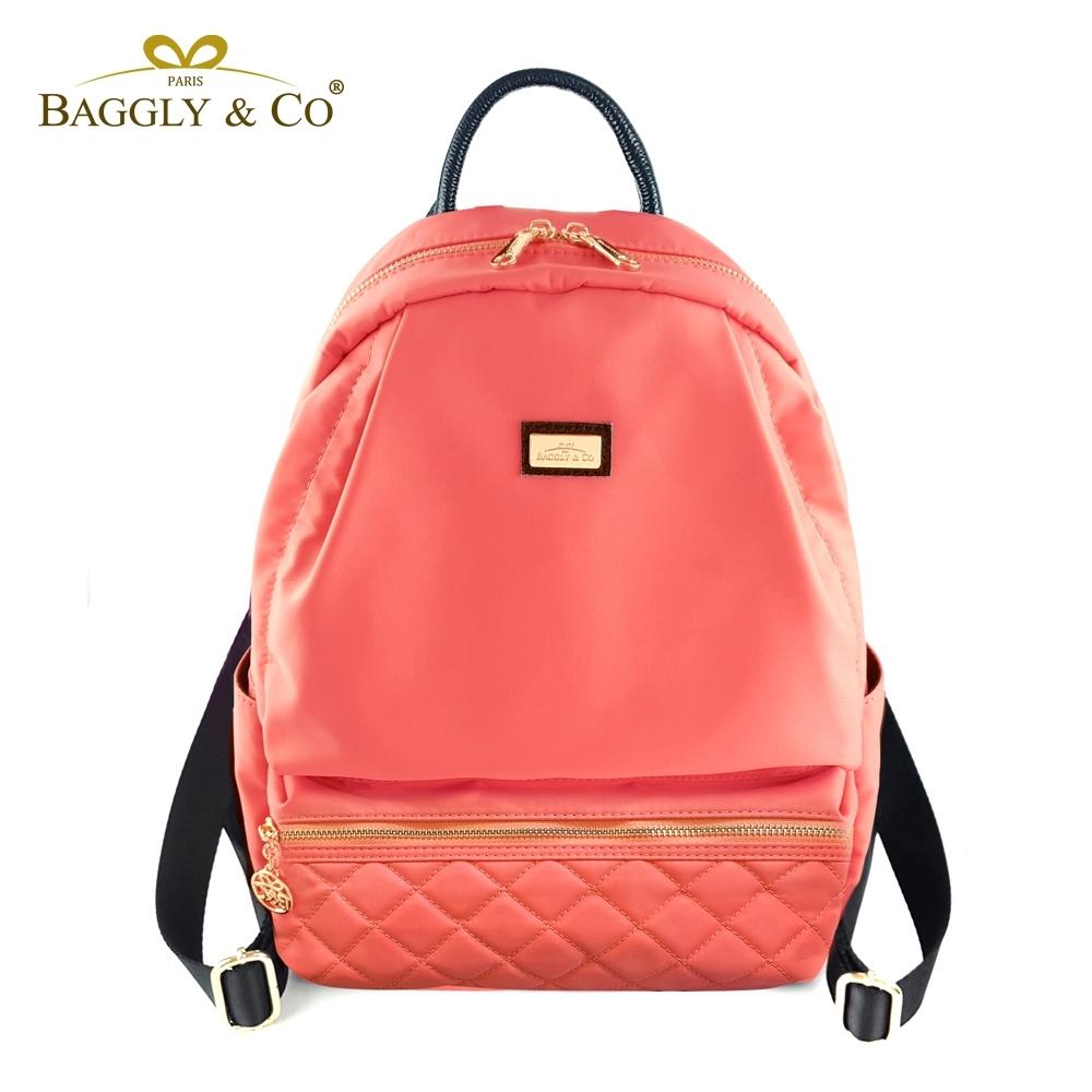 【福利品】【BAGGLY&CO】質感菱格紋真皮尼龍防盜後背包-橘色