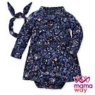 【mamaway 媽媽餵】BABY 襯衫式印花包屁洋裝(深藍)