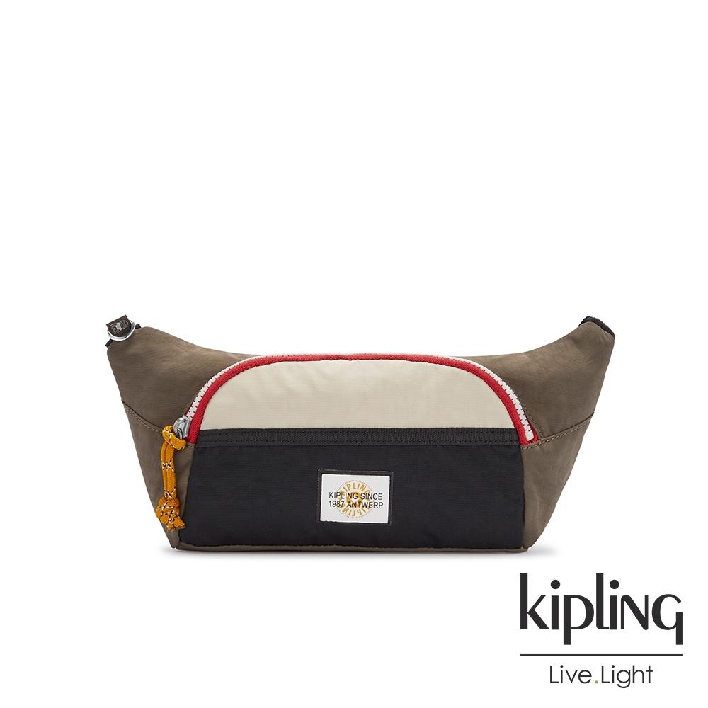 Kipling 中性黑茶色佐小麥色單層拉鍊造型小包-YURA