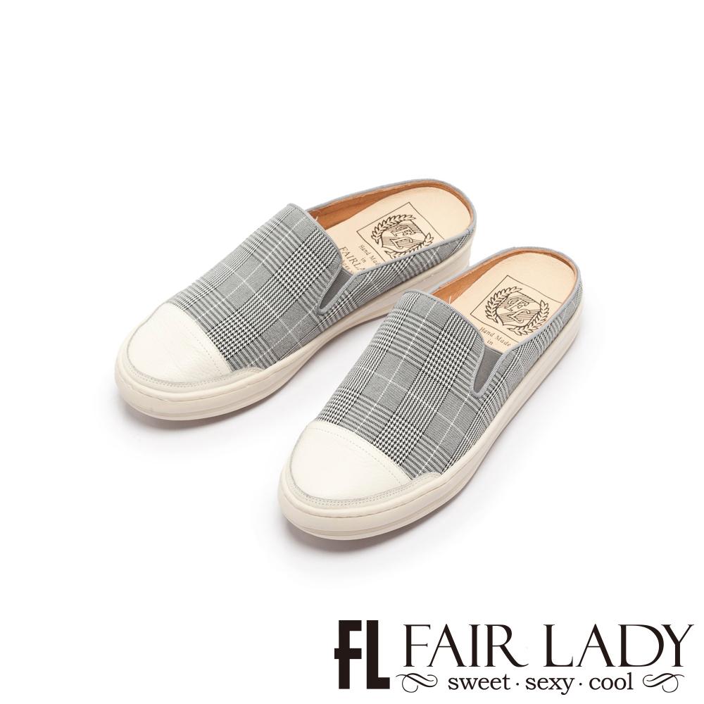 Fair Lady SoftPower軟實力千鳥格紋休閒穆勒鞋 慕尼黑