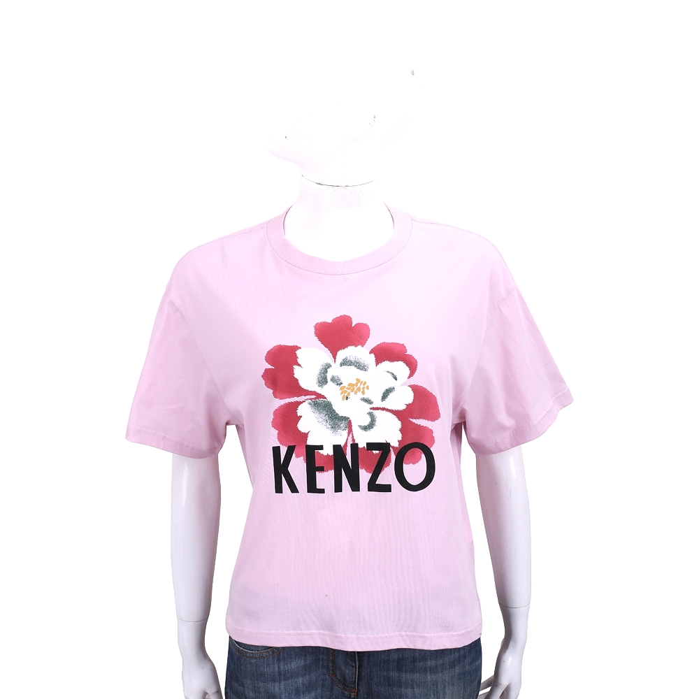 KENZO 扶桑花字母粉色棉質短袖T恤