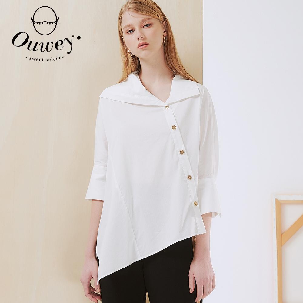 OUWEY歐薇 知性造型領斜釦七分袖襯衫(白)3212081542