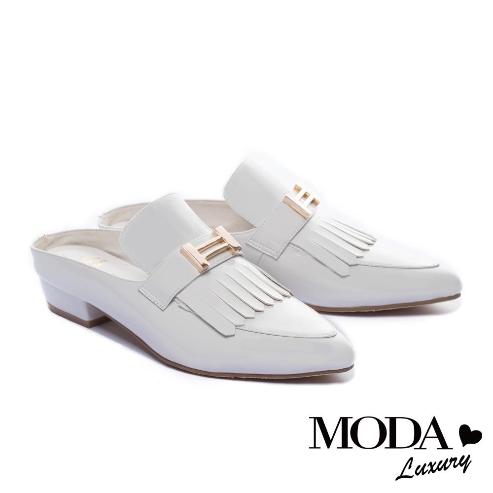 拖鞋 MODA Luxury 復古雅痞風格流蘇穆勒低跟拖鞋-白