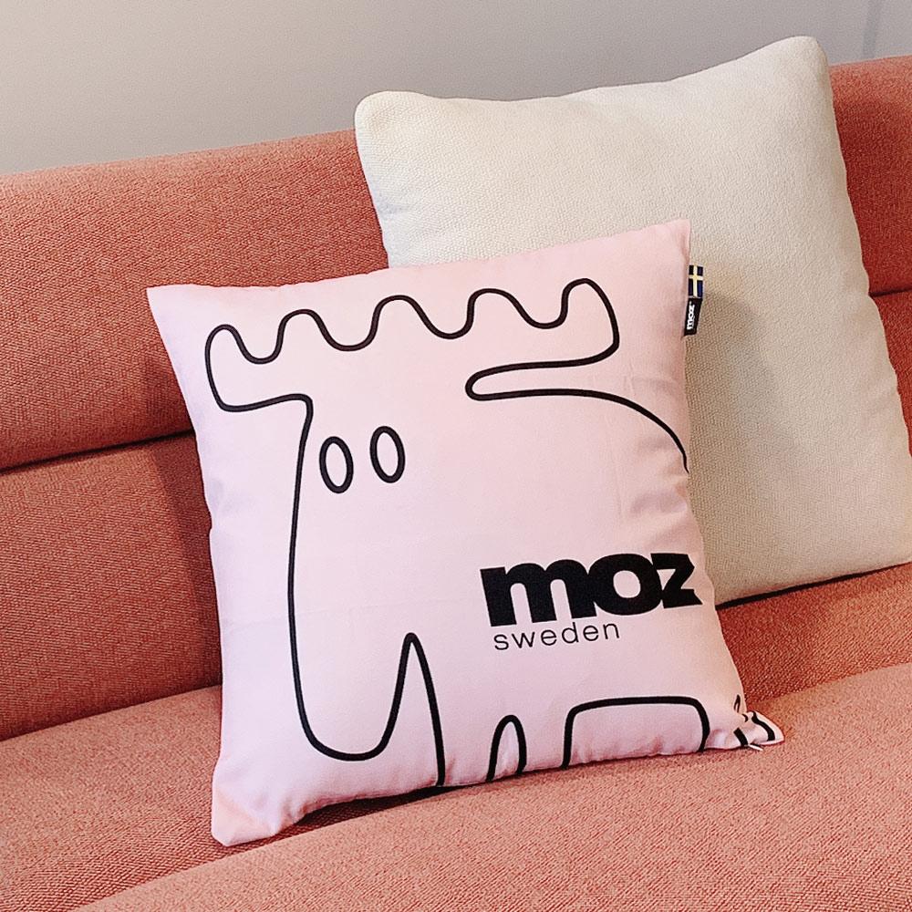 moz瑞典 北歐風雙面抱枕套(原創線條-可愛粉)45cm
