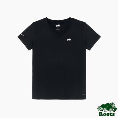 Roots 女裝- 城市悠遊系列 V領機能短袖T恤-黑色