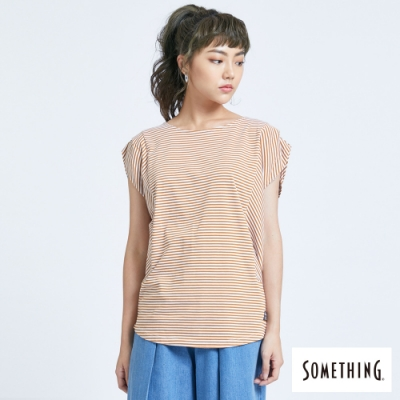 SOMETHING 百搭細條 短袖T恤-女-土黃色