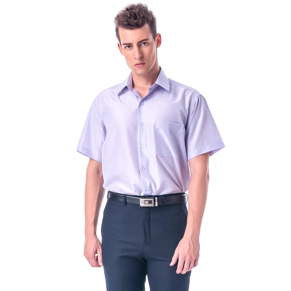 金‧安德森 紫底黑細紋吸排短袖襯衫
