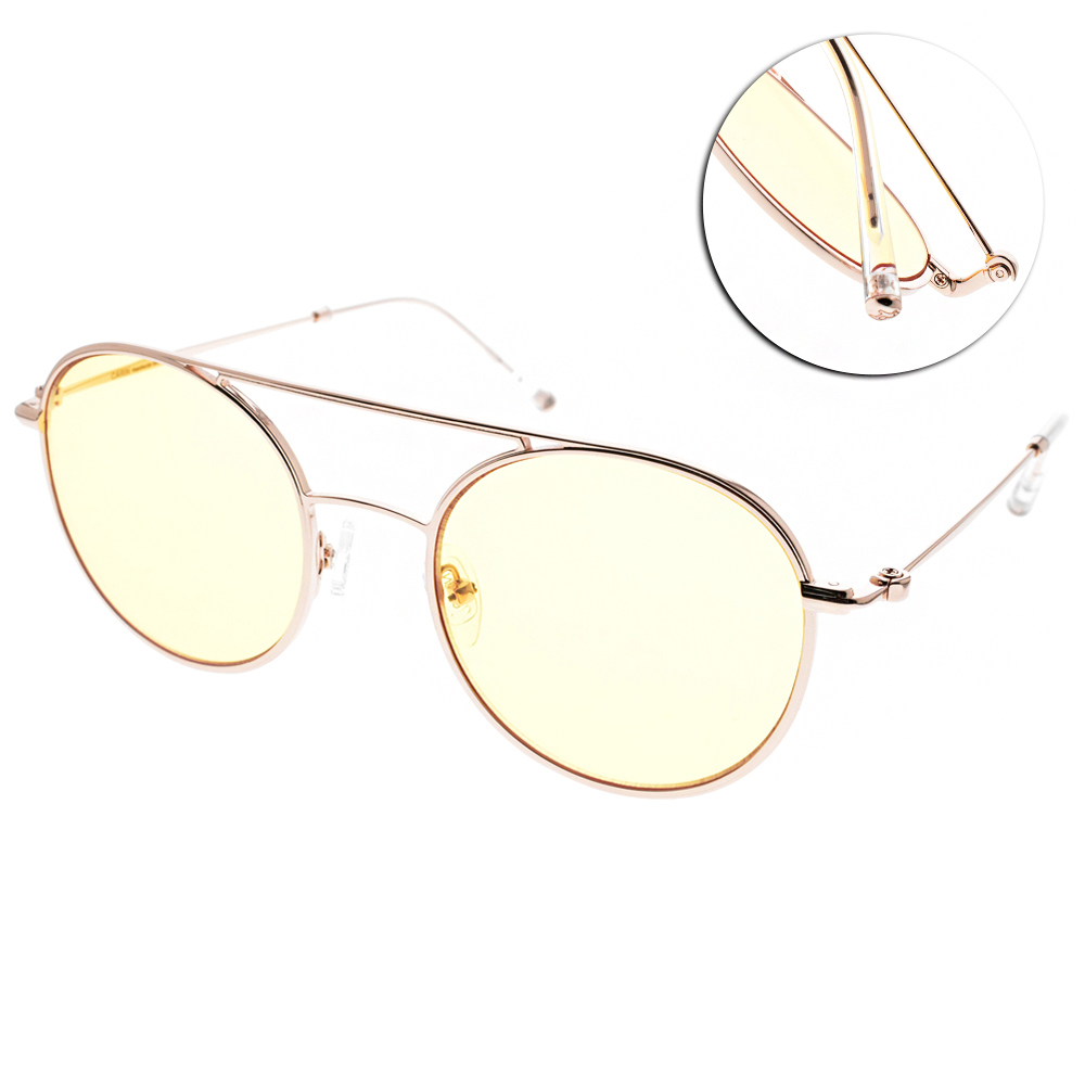 CARIN太陽眼鏡 秀智代言 韓系復古圓框款/金-淺黃 #CARRIE C2
