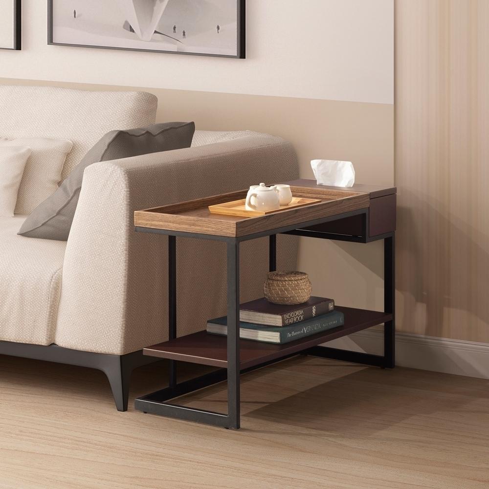 直人木業-ALEX簡約胡桃木 功能沙發邊几80x35x55cm