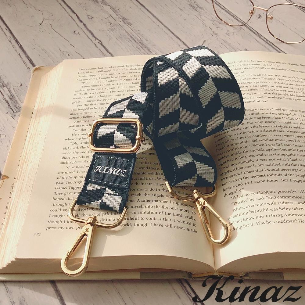 KINAZ 箭頭圖騰品牌質感寬版背帶-黑磚巧克-帶我走系列