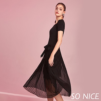 SO NICE優雅蝴蝶綁結假兩件洋裝